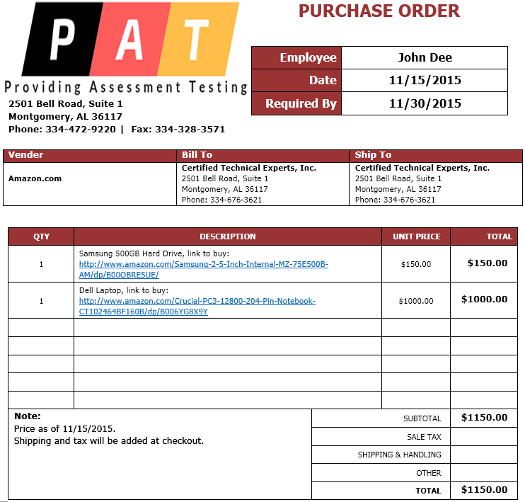 Purchase Order (PO) Request - eRequest Center | Certified Technical ...